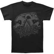Bunny The Bear Men's  Skull Black On Black T-shirt Black