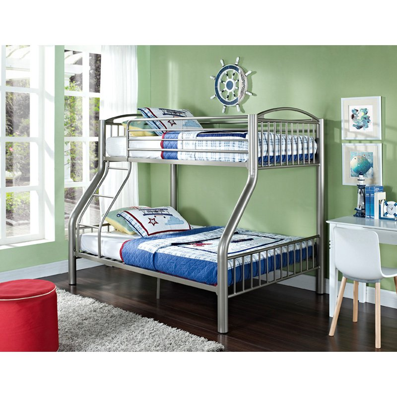 Twin-Over-Full Bunk Bed, Pewter