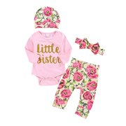 Zuiguangbao Cute Infant Newborn Baby Girl Clothes Letter T shirt Floral Pants 3pcs Outfit Cotton Baby Tracksuit Set