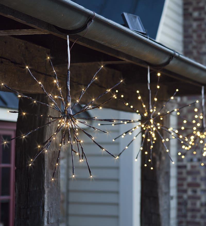 Plow & Hearth Solar LED Twig Starburst Lights Set of 2