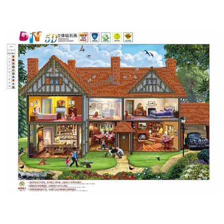 Cottage Pattern 5D Diamond Painting Embroidery Cross Stitch Art Pictures - image 1 of 7