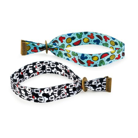 Mickey Mouse & Friends Mickey Mouse Unisex Adult Groovez Bracelet Duo in Black & White and Multi-Color