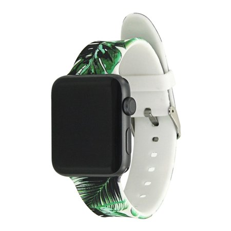 Tech Elements Wrist Apple watch band 38mm/42mm: Silicone Watch Band With Pattern Style Replacement Bands for Apple Watch Series 1 & 2 (38mm) - Tropical Palm Leaves Tech Elements Wrist Apple watch band 38mm/42mm: Silicone Watch Band With Pattern Style Replacement Bands for Apple Watch Series 1 & 2  (38mm) - Tropical Palm Leaves