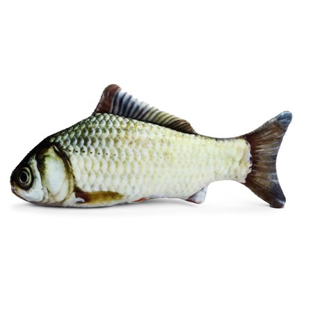Pet Cat New Realistic Fish Kicker Scratching Toy Cushion Pillow Cotton Animal Catnip Grass Carp  Interactive Doll Length 7.87