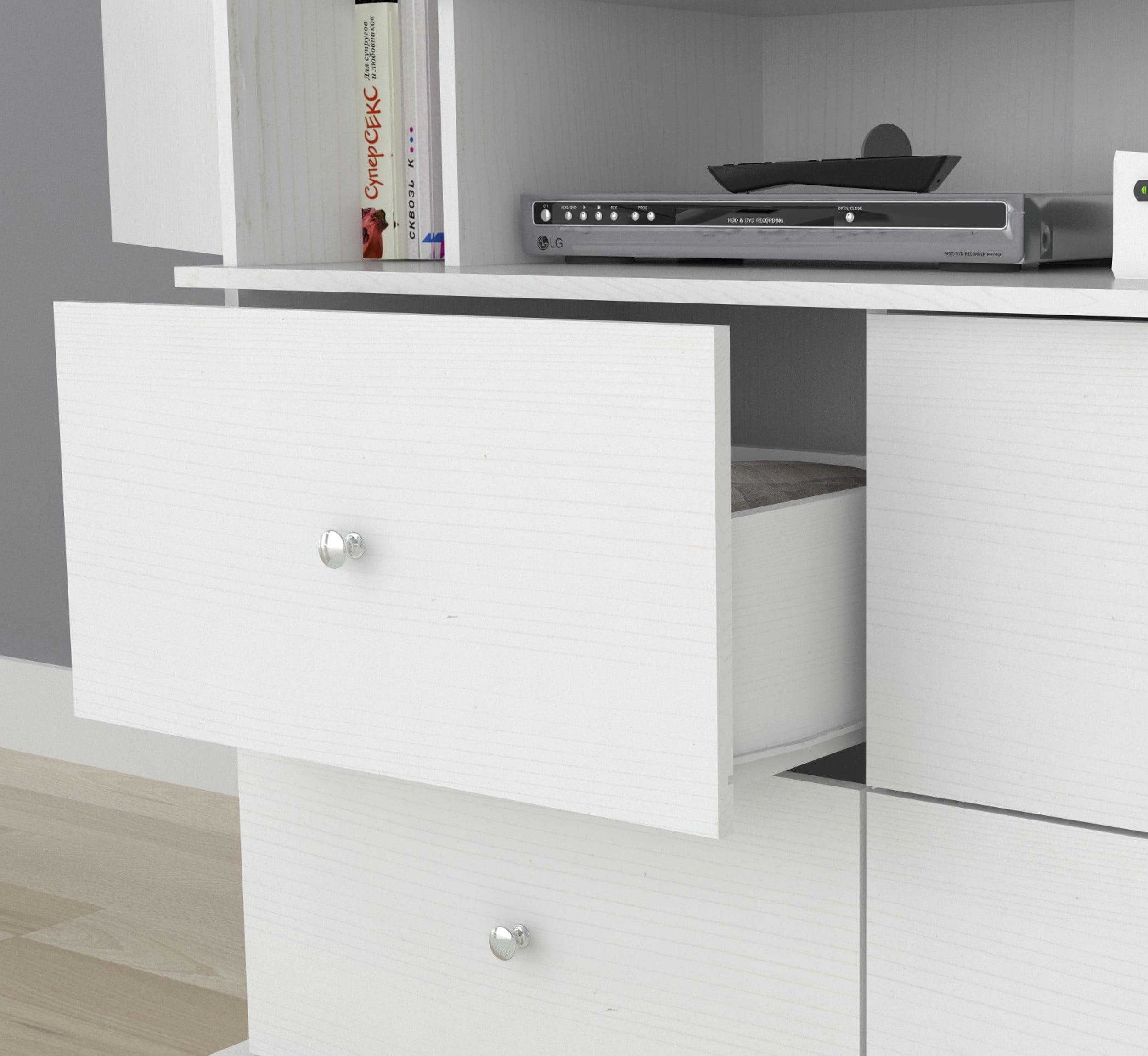 Inval Modern Laricina-white Armoire  AV Video Combo Cabinet by Inval