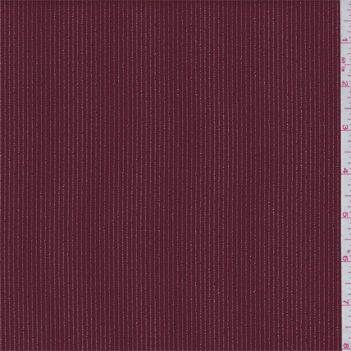 Ruby Red/Silver Stripe Twill, Fabric By the Yard