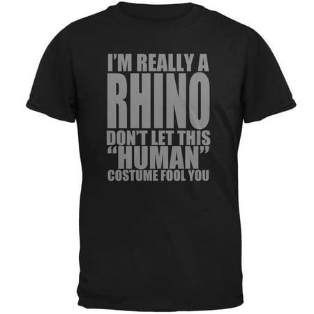 Halloween Human Rhino Costume Mens T Shirt - Rhino Costume