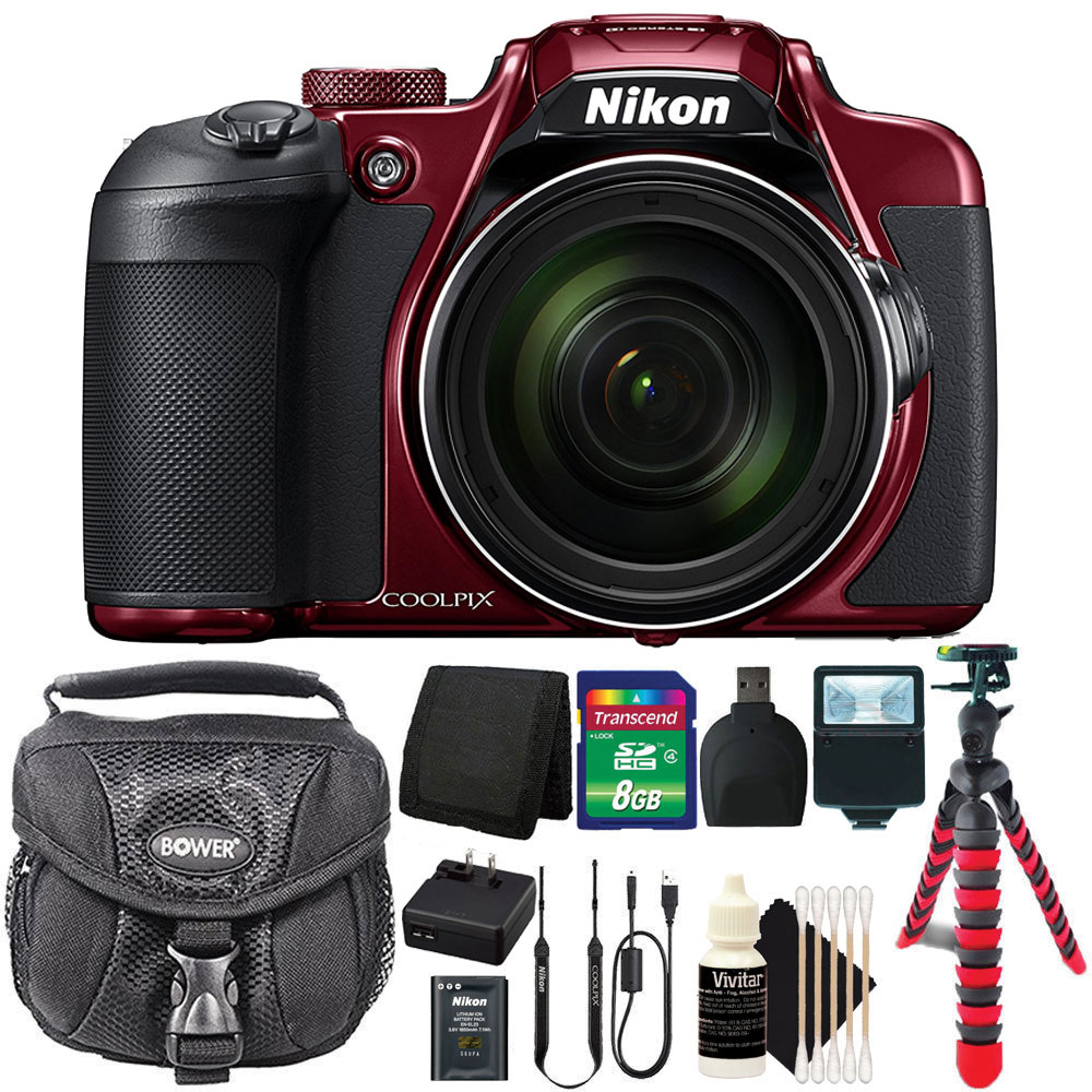 Nikon COOLPIX B700 20.2MP Point & Shoot Digital Camera Top Accessory Bundle Red