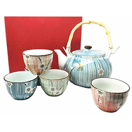 Japanese Design White Cherry Blossom Ceramic Tea Pot and Cups Set Serves 5 Beautifully Packaged in Gift Box Excellent Home Decor Asian - Asian Gifts