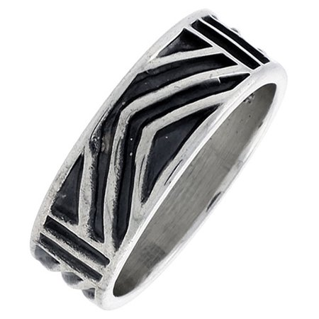 Sterling Silver Native American Design - Sterling Silver Native American Hopi Pattern Chevron Ring Southwestern Design Handmade 1/4 inch wide Hand Mad