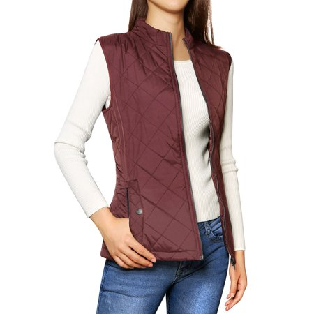 Women's Zip Up Stand Collar Quilted Bodywarmer Down Vest Red (Size L / -