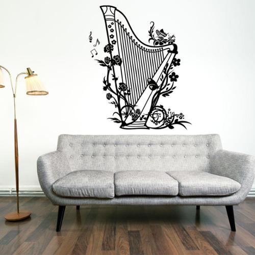 Style and Apply Harp Music Vinyl Wall Art