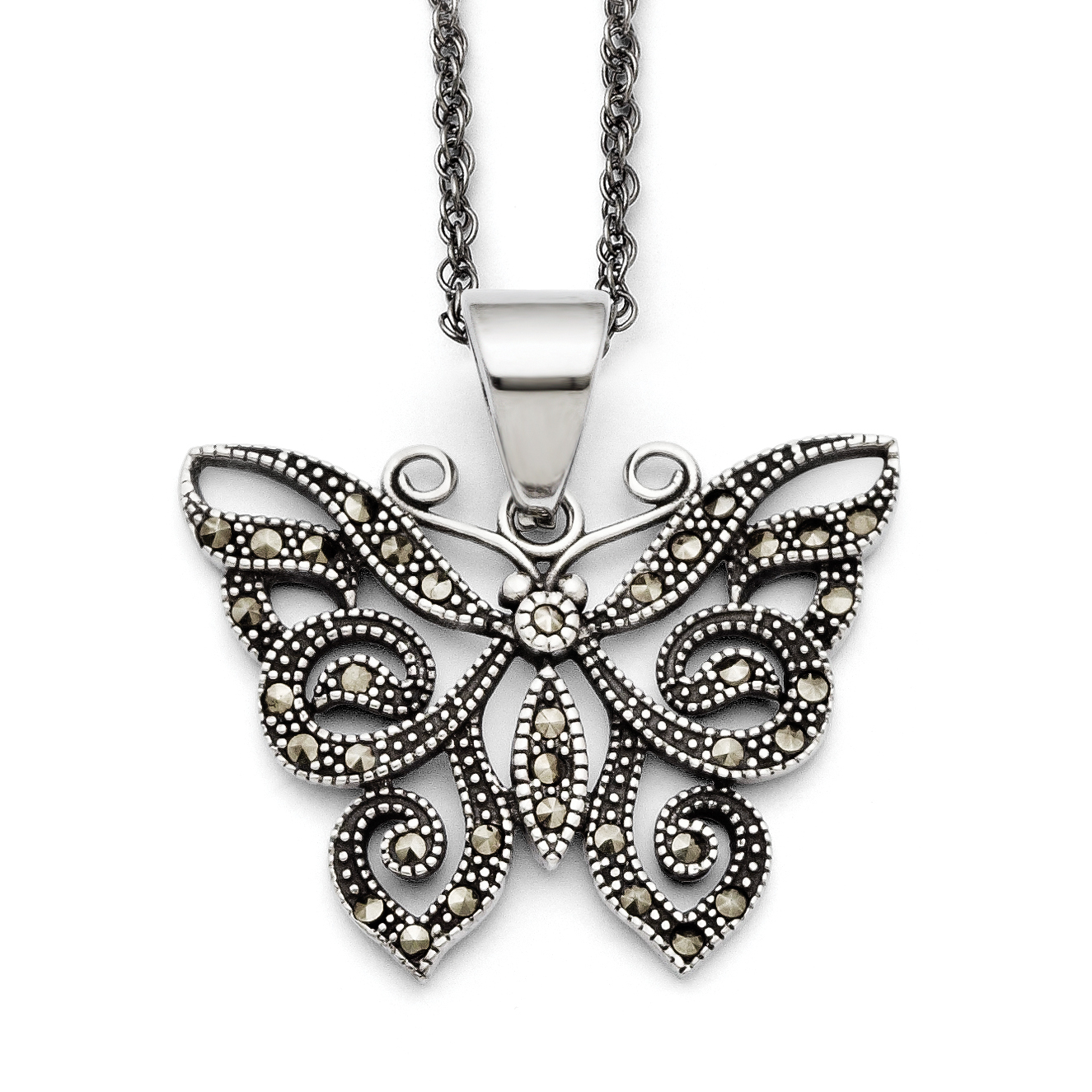 Roy Rose Jewelry Stainless Steel Butterfly Marcasite Necklace ~ Length 20'' inches