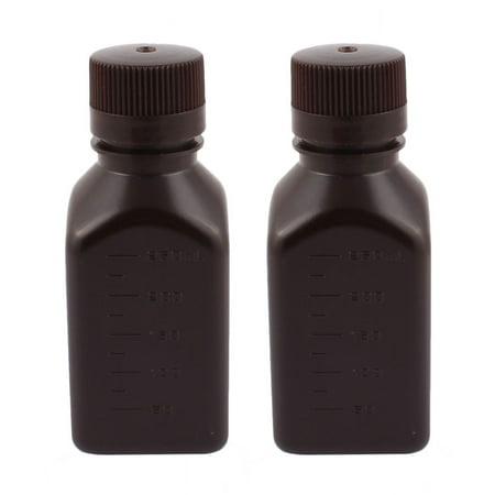 2Pcs 250Ml Plastic Chemical Sample Reagent Bottle Food Sealling Canister Brown