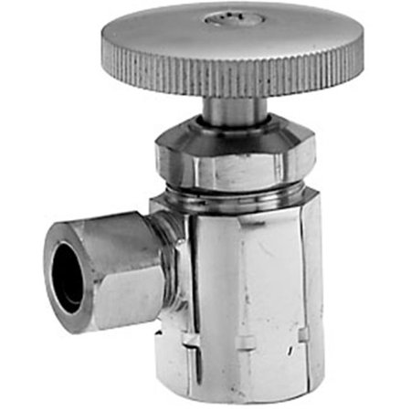 Westbrass D103-05 Angle Stop with .5 in. IPS Inlet - Round Handle - Polished Nickel