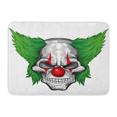 GODPOK Evil Black Scary Clown Skull White Joker Zombie Rug Doormat Bath Mat 23.6x15.7 inch - Scary Clown Black And White