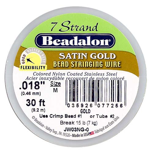 "Beadalon Wire ""Satin Gold"" 7 Strand .018 Inch / 30Ft"