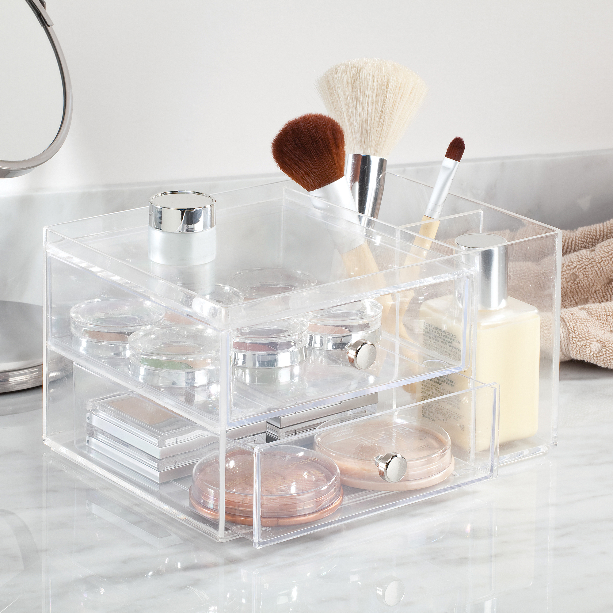 InterDesign Clarity Cosmetic Organizer for Vanity Cabinet to Hold Makeup, Beauty Products, 2 Drawer with Side Caddy, Clear