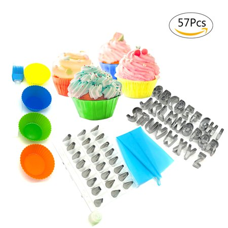57-Piece Cake Decorating Supplies with Icing Tips, Cupcake Decorating Kit and Cookie Cutters Biscuit Molds (Halloween Decorating Ideas For Cookies)