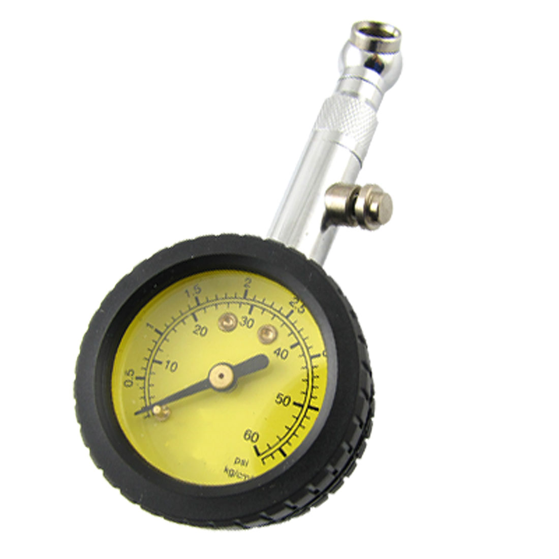 Durable Motorcycle Automobile 0-60PSI Dial Tire Gauge Yellow