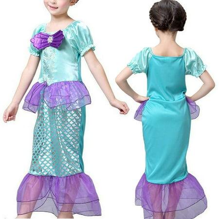 Kid Ariel Little Mermaid Set Girl Princess Dress Party Cosplay - Ariel Kids Costume