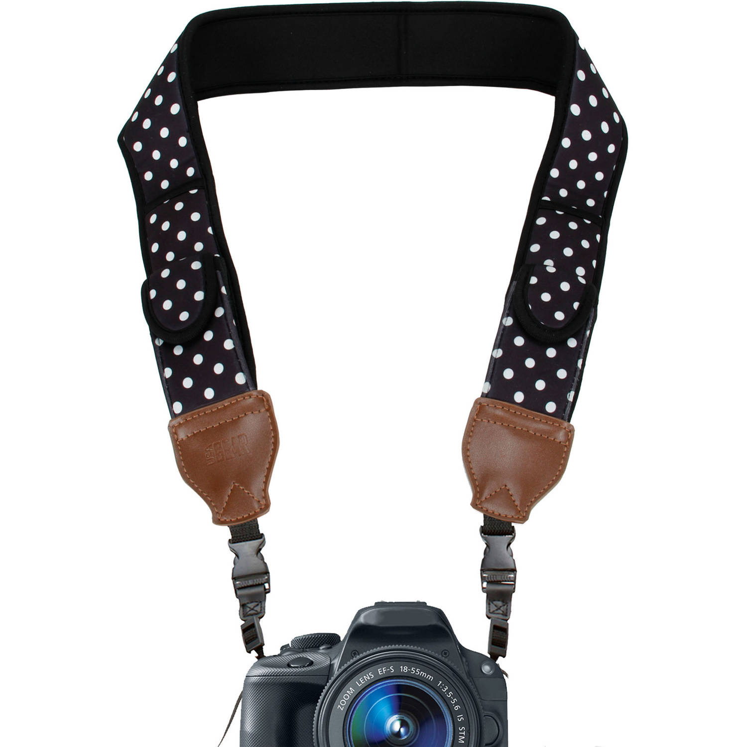 Comfort Digital Camera Neck Strap with Neoprene Cushion Padding & Storage Pockets by USA Gear - Works with Canon , Nikon , Sony and More Cameras