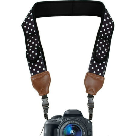 Comfort Digital Camera Neck Strap with Neoprene Cushion Padding & Storage Pockets by USA Gear - Works with Canon, Nikon, Sony and More Cameras