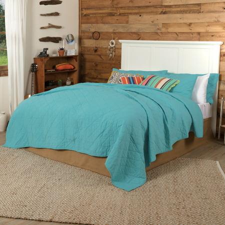 Turquoise Blue Southwestern Bedding Pueblo Cotton Linen Blend Pre-Washed Flax Solid Color King Quilt