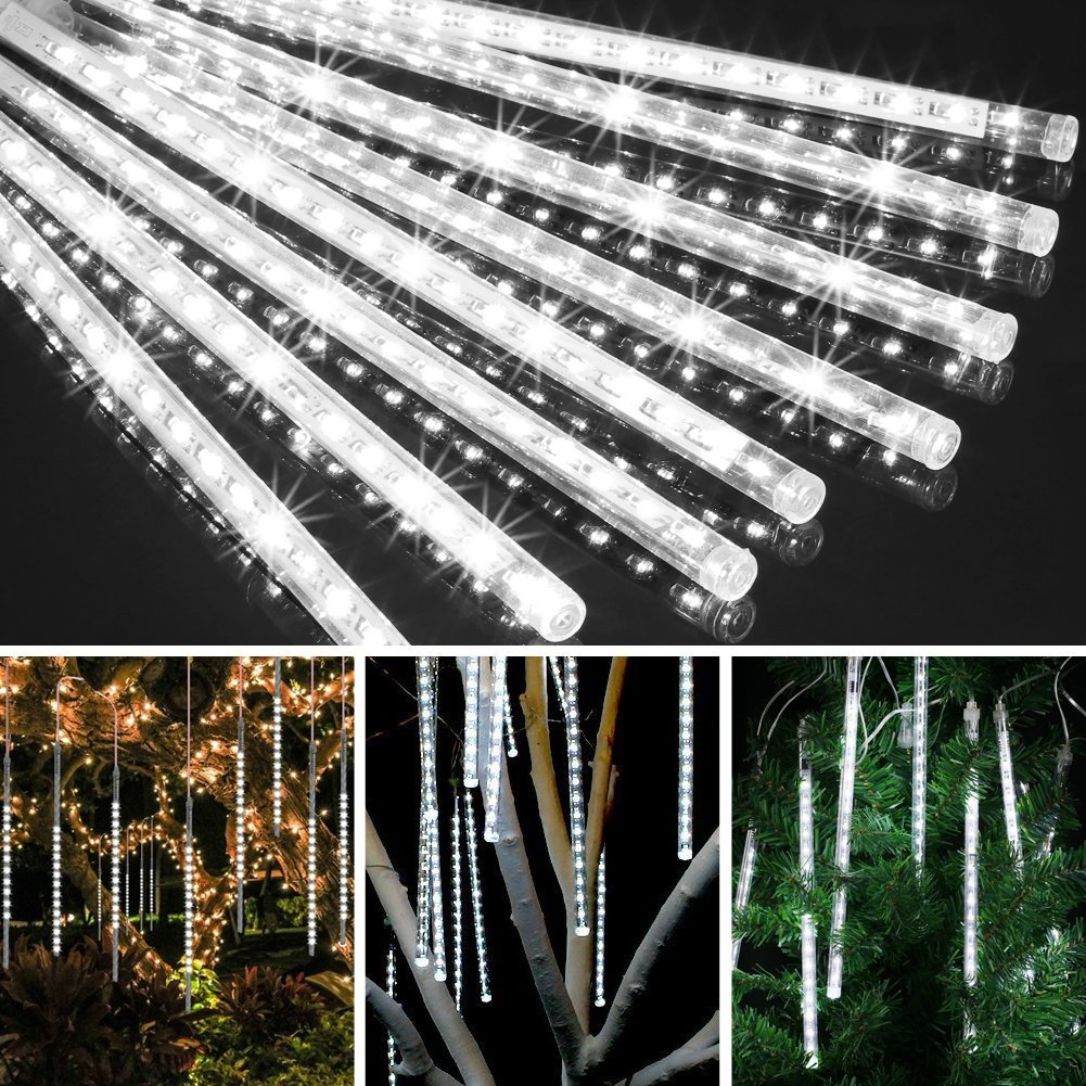 EECOO LED Meteor Shower Rain Lights,Drop/Icicle Snow Falling Raindrop String Lights with 11.8in 30cm 8 Tube 144 LEDs Waterproof Cascading Lights for Wedding,Party, Home,Garden (Cool White,US plug)