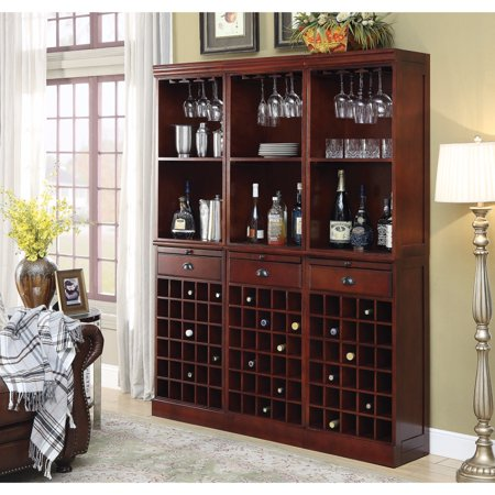 Cherry Hill Wine Bar (Wooden Traditional 3-Piece Wine Wall Bar Unit, Cherry Brown )