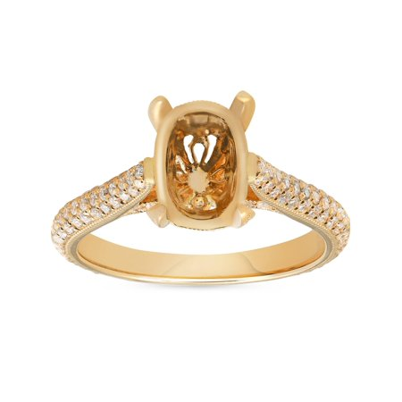 - F/VVS .68CT 18k Yellow Gold Micropave Diamond Oval Engagement Ring Setting Mount