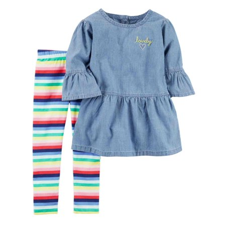 a9f1c1a5d Carters Infant & Toddler Girls Baby Outfit Blue Chambray Shirt & Rainbow  Pants - Walmart.com
