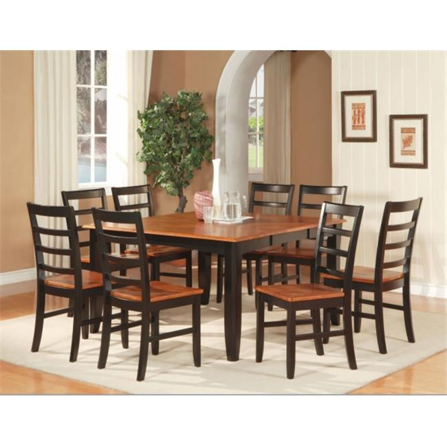 Wooden Imports Furniture PF7-BLK-W 7PC Parfait Square Table with 18 in. Butterfly Leaf & 6 Wood Seat Chairs in Black & Cherry Finish