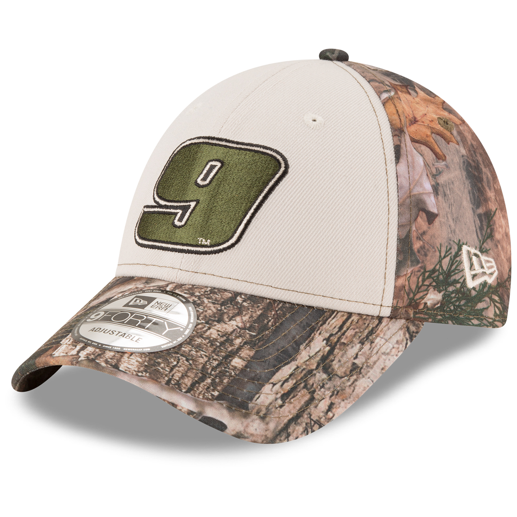 Chase Elliott New Era Stone Front 9FORTY Adjustable Hat - Camo/White - OSFA