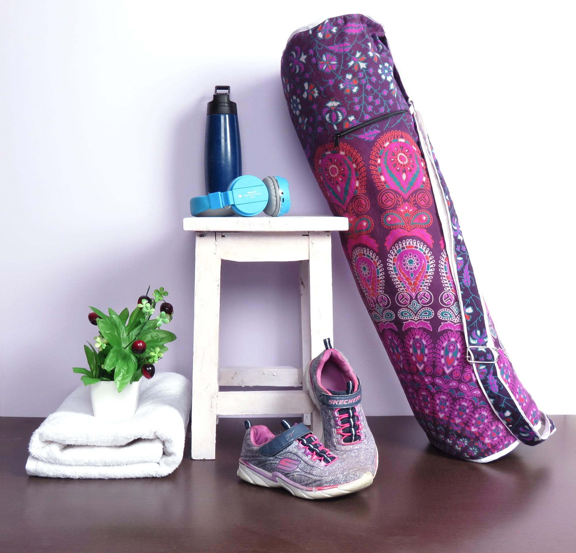 Purple Yoga Mat Carrying Bag Mandala Yoga Mat Bag Handmade