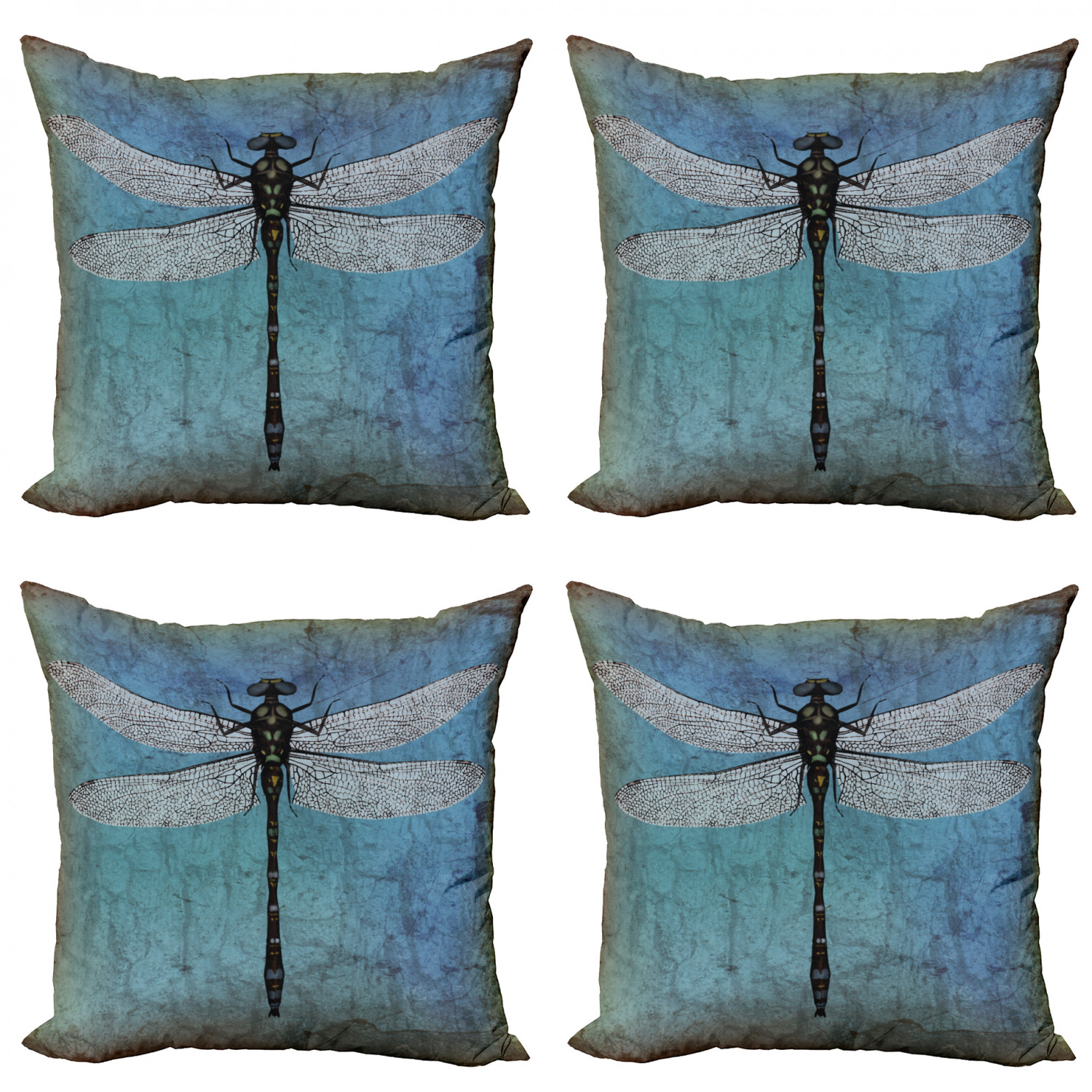 Dragonfly Throw Pillow Cushion Case Pack Of 4 Grunge Vintage Old Backdrop And Dragonfly Bug Ombre Image Modern Accent Double Sided Print 4 Sizes Turquoise Dark Blue By Ambesonne Walmart Com Walmart Com