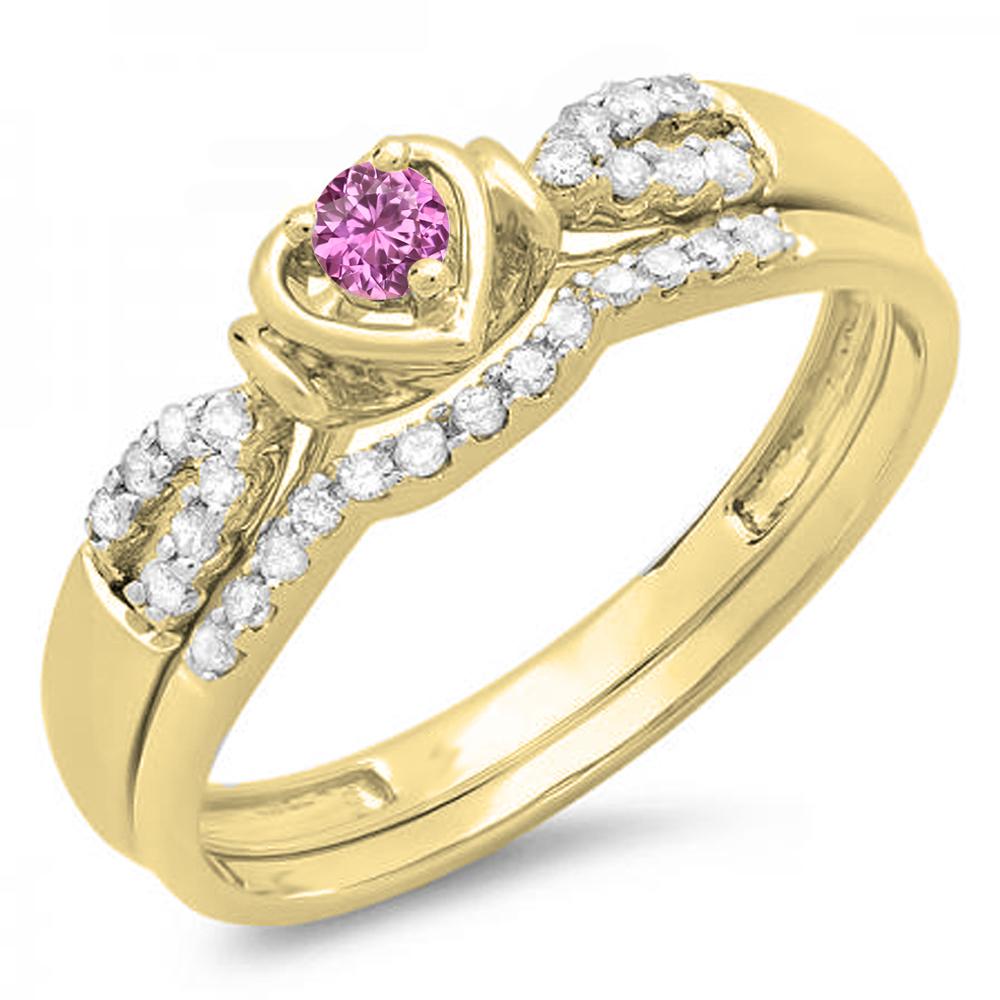 Dazzling Rock 10K Gold Pink Sapphire & White Diamond Hear...