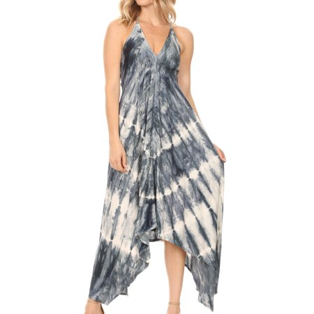 Sakkas Sol Women's Sleeveless Spaghetti Strap V-neck Maxi Summer Casual Dress Boho - Grey - One Size