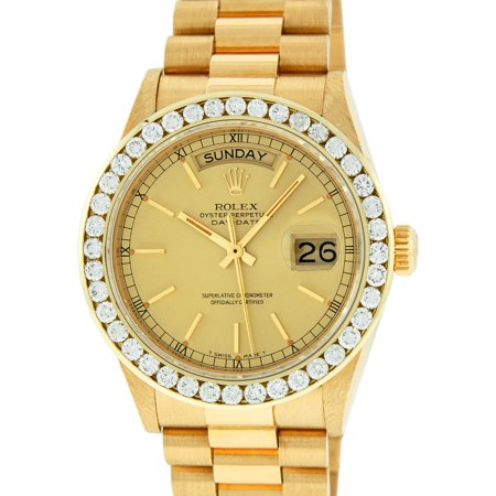 Pre-Owned Rolex Men's Day-Date 18K Yellow Gold Champagne Index Dial Diamond Bezel President (18k Solid Wrist Watch)