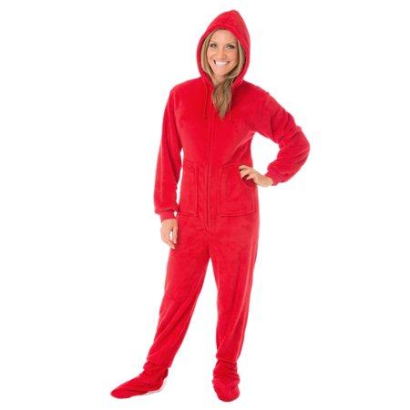 46fcfb51c Big Feet Pjs Red Plush Sleeper Adult Footed Pajamas with Hood ...