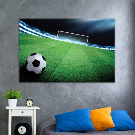 wall26 - Canvas Wall Art Sports Theme - Soccer Towards to Gate on The Soccer Field - Giclee Print Gallery Wrap Modern Home Decor Ready to Hang - 24x36 inches (Soccer Star Canvas Art)