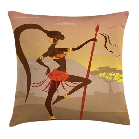 Afro Decor Throw Pillow Cushion Cover, Savannah Lady Like Amazon Girl Standing for Hunt Safari Style Retro Folk Print, Decorative Square Accent Pillow Case, 16 X 16 Inches, Brown Cocoa, by Ambesonne thumbnail