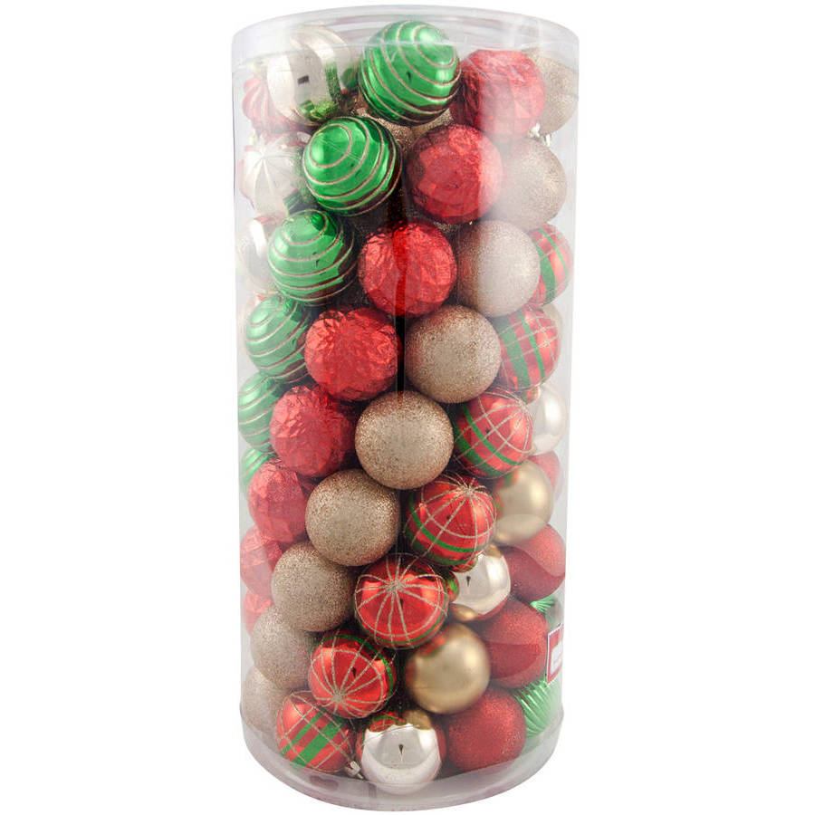 Holiday Time Traditional Shatterproof Christmas Ornaments, Set of 101