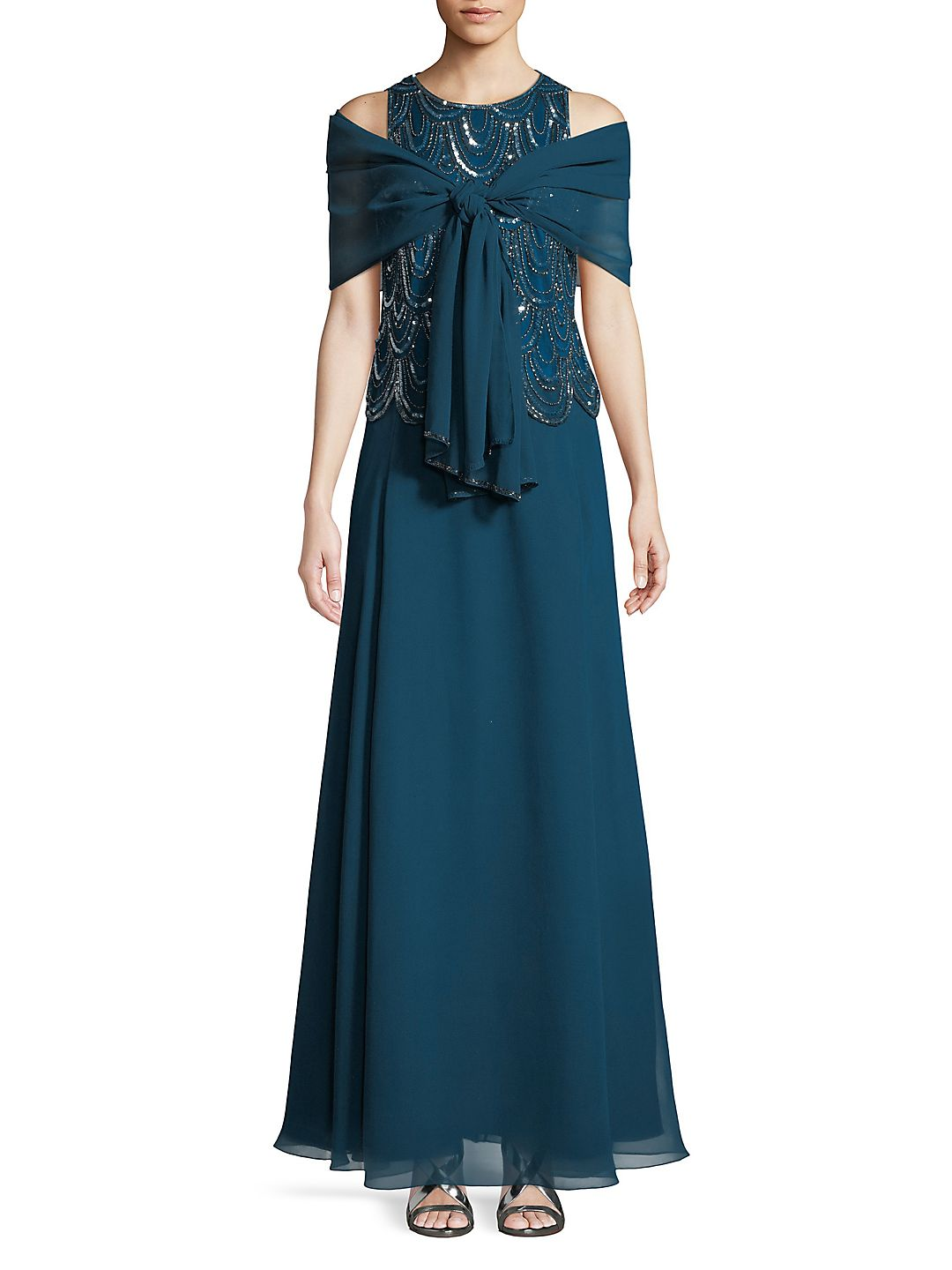 2-in-1 Embellished Floor-Length Gown and Scarf