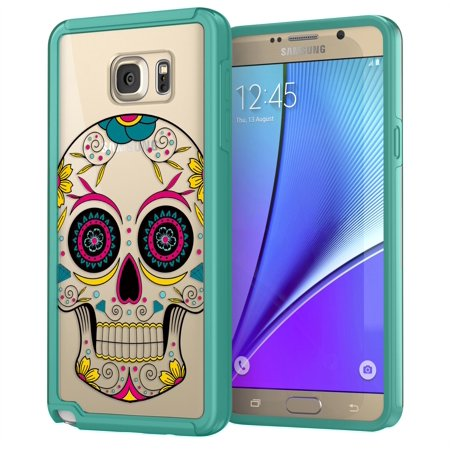 Samsung Galaxy Note 5 Sugar Skull Case, True Color Colorful Sugar Skull HD Printed on CLEAR Transparent Hybrid Cover Hard + Soft Slim Durable Protective Shockproof Rubber TPU Bumper - Teal