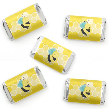 Honey Bee - Mini Candy Bar Wrapper Stickers - Baby Shower or Birthday Party Small Favors - 40 - Small Birthday Party Ideas