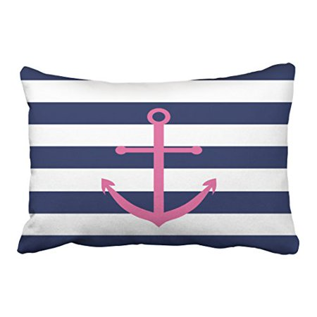 WinHome Rectangl Throw Pillow Covers Retro Navy Blue And White Stripe Pink Anchor Pillowcases Polyester 20 x 30 Inch With Hidden Zipper Home Sofa Cushion Decorative Pillowcase](Navy Blue And Pink)