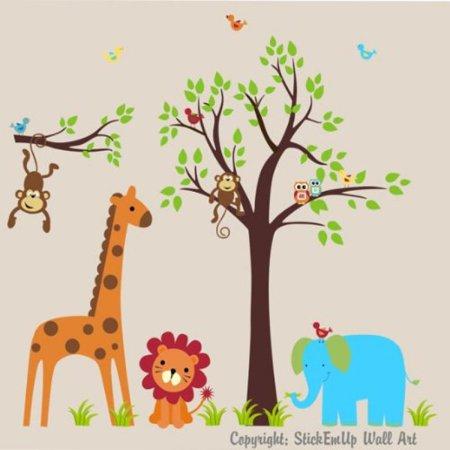 Baby Nursery Wall Decals Safari Jungle Childrens Themed 75