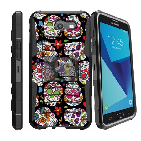 Samsung Galaxy J7 (2017) Case | J7 V | Samsung Perx | Samsung Sky Pro Holster Case [ Clip Armor ] Rugged Holster Case with Kickstand + Belt Clip - Sugar Skull Design