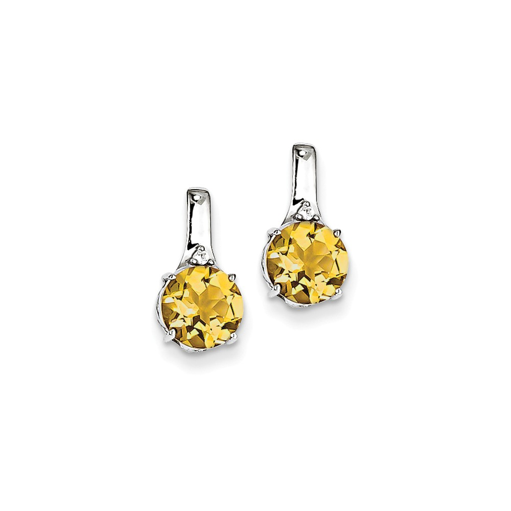 Sterling Silver 0.5IN Long with Citrine and White Topaz Round Post Earrings